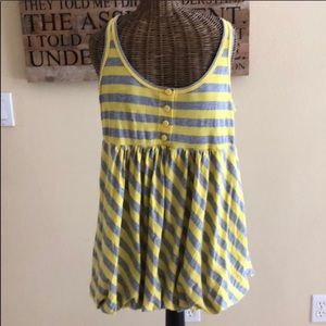 Juicy Couture Yellow Gray Striped Bubble Tank XL